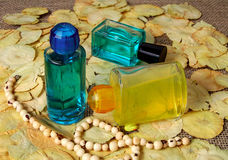 Bottle of parfume. One, blue and othe yellow stock photo