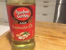 Bottle of peanut oil. Berlin, Germany - January 31, 2018: Bottle of Bamboo Garden peanut oil Royalty Free Stock Image