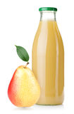 Bottle of pear juice and ripe pear Stock Photo