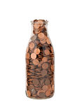 Bottle of Pennies Stock Image