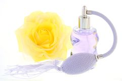 Bottle of perfum and flower Royalty Free Stock Image