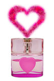 Bottle of perfume, aroma like a heart from flowers Royalty Free Stock Photo