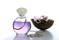 Bottle of perfume and coconut Stock Photo