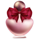 A bottle of perfume design with bow and pearl jewelry illustration Stock Image