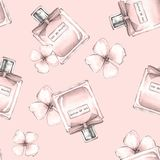 Bottle of perfume and flowers. Seamless pattern 3 Stock Photos