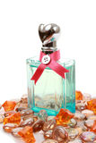 Bottle of perfume with gems Royalty Free Stock Photo