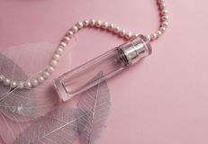 Bottle of perfume on a pink background Royalty Free Stock Image