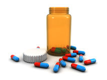 Bottle and pills. Medicine bottle with pills on the white background (3d render&#x29 Royalty Free Stock Photography