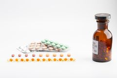 Bottle with pills blister pack Royalty Free Stock Photography