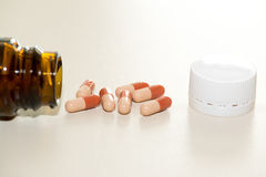 Bottle of pills. Closeup on white background stock image