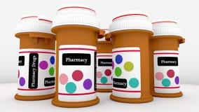 Bottle of pills. 3d Bottle of pills and drugs Stock Images