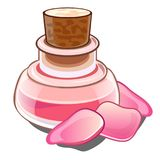 Bottle with pink liquid, wooden cap and petals. Glass flacon with perfume or magic potion and roses in cartoon style royalty free illustration