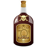 Bottle of pirate rum. Glass bottle pirate rum on white background Stock Images