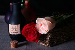 Bottle with poison. Both two roses red and beige royalty free stock photo