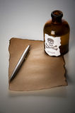 Bottle of poison. Close-up bottle of poison and written down  text before death Royalty Free Stock Photo