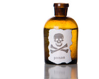 Bottle of poison. Bottleof poison isolated over white Royalty Free Stock Photos