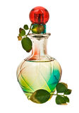 Bottle of Poison. Multicolored perfume bottle with rose leaves stock photos