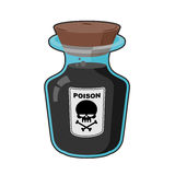 Bottle with poison. Magic Vintage bottle with a black potion. Sk Stock Photography