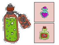 Bottle with potion game magic glass cards elixir poisoning toxic substance dangerous toxin drug container vector Stock Image
