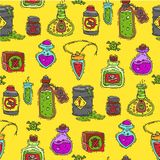 Bottle with potion game magic glass elixir poisoning toxic substance dangerous toxin drug container seamless pattern royalty free illustration