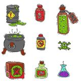 Bottle with potion game magic glass elixir poisoning toxic substance dangerous toxin drug container vector illustration Royalty Free Stock Images