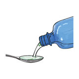 Bottle pouring medicine syrup in spoon. Illustration of bottle pouring medicine syrup in spoon. Medicine illustration in modern cartoon style Stock Illustration