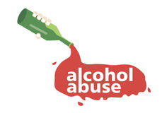 From the bottle pours the alcohol with the words alcohol abuse. Stock Photo