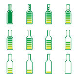 Bottle preloader green and yellow Stock Photos