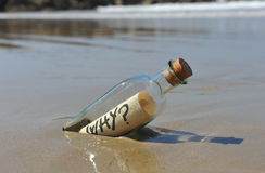 Bottle with question, why? Royalty Free Stock Photo