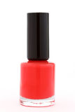 Bottle of red nail polish on white Royalty Free Stock Photography