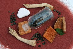 Bottle on red sand with pebbles and sticks. Concept of wellness Royalty Free Stock Photos