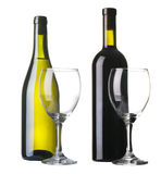 Bottle of red and white wine Stock Image