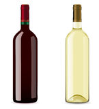 Bottle with red and white wine Stock Photos