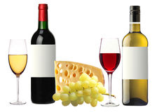 Bottle of red and white wine, glass and tasty cheese and grape Royalty Free Stock Photos