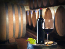 Bottle or red wine in a cellar Stock Photo