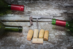 Bottle of Red Wine with Cork, Corkscrew Stock Photo