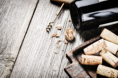 Bottle of red wine and corks Stock Photography
