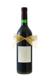 Bottle of red wine decorated with bow ribbon Royalty Free Stock Image