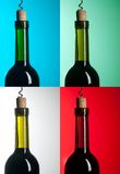 Bottle with red wine on differend backround Stock Photography
