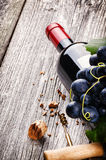 Bottle of red wine with fresh grape Stock Images