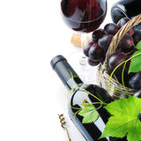 Bottle of red wine with freshly harvested grape Royalty Free Stock Photos