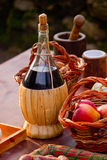 Bottle of red wine and fruit Stock Photo