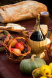 Bottle of red wine and fruit Royalty Free Stock Photo