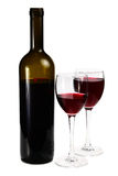 Bottle with red wine and glass Stock Photos