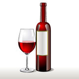 Bottle of red wine with a glass Stock Images