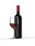 Bottle of red wine with glass Stock Photo