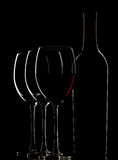 Bottle with red wine and glass Royalty Free Stock Images