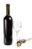 Bottle with red wine glass and cork-screw Stock Photo