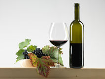 Bottle red wine, glass, grapes white background Royalty Free Stock Image