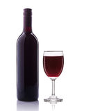 Bottle of red wine and glass. Studio shot isolated on white Stock Photo